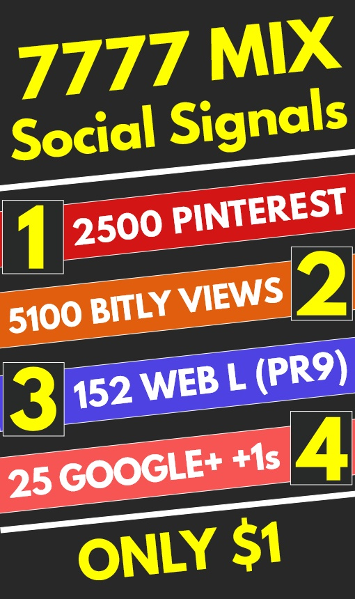 7777 Mix High Quality PR9 PR10 Social Signals Shares Bookmarks - SEO GOOGLE RANKING FACTOR