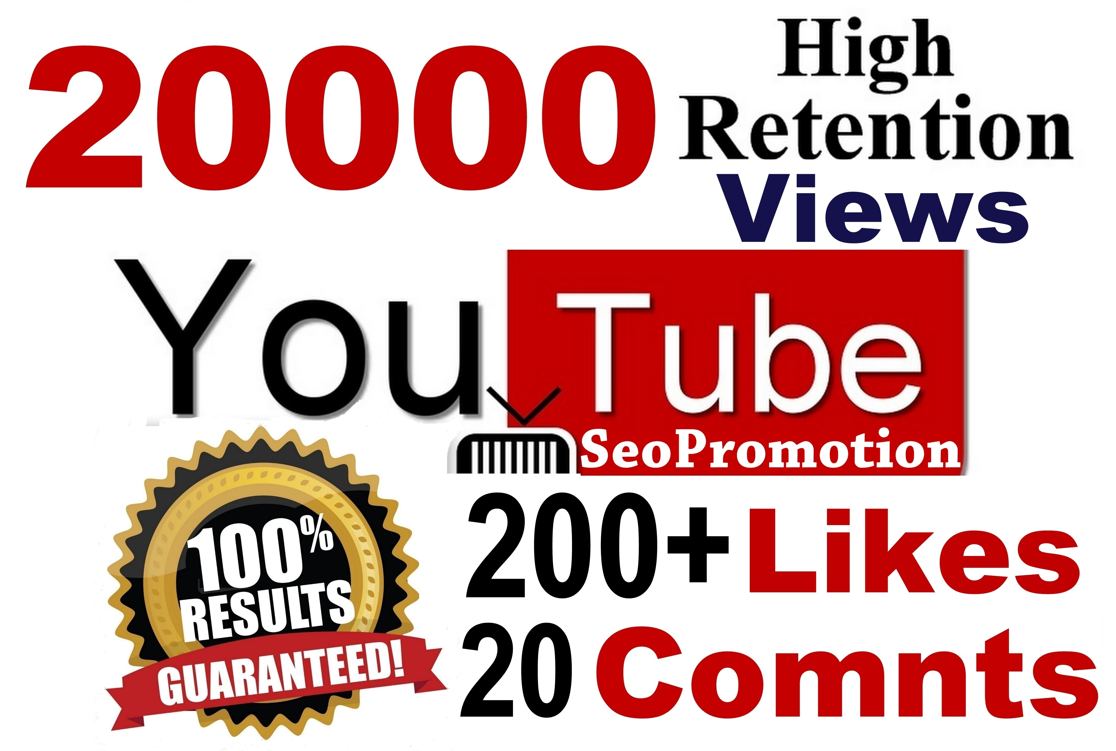 20000 HR views & 200 Likes & 20 Real comments Youtube video SeoPromotion