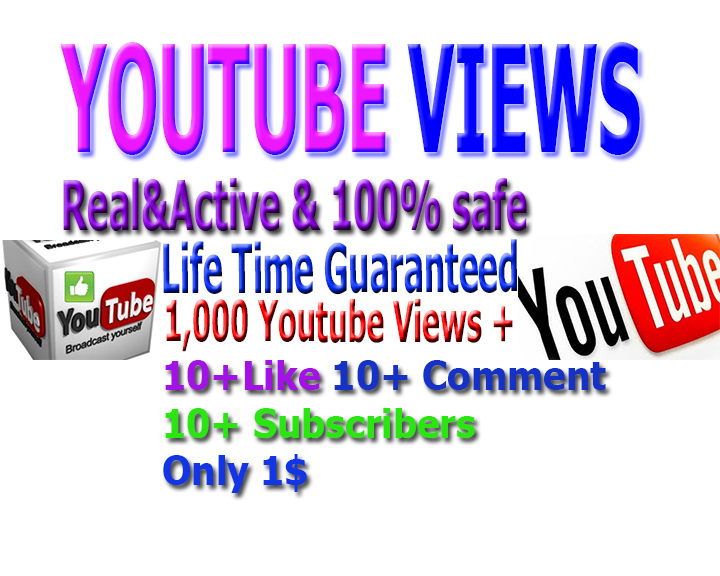 Provide  2000+youtube views+ 10subscribers +10Comments+10 like  in Your Video