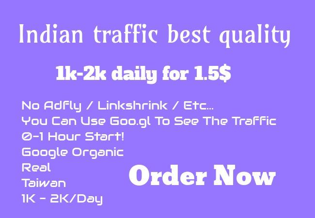 add 1k-2k INDIAN real visitors,super targeted,website,traffic