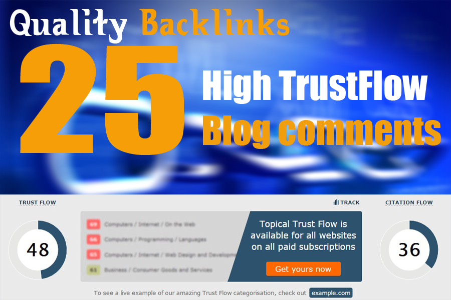 Get Google 1st page rank With 25 Hight Trust flow and DA Blog comments backlinks
