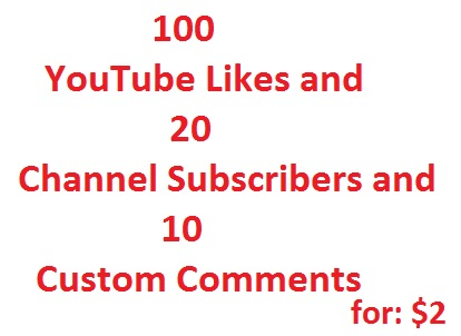 100 YouTube likes+10 Custom comments +20 Non Drop  Subscribers