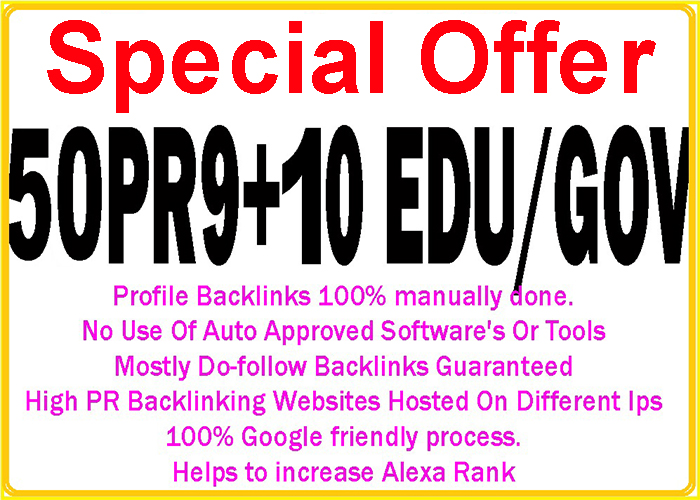 Handmake 50 Pr9 + 10 Edu/Gov High DA/PA Safe Google Friendly Safe Seo Backlinks