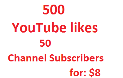 Give you 500 YouTube likes+ 50 YouTube Subscribers