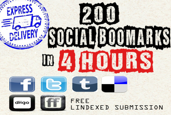 200 social BOOKMARK to your multiple URLs in 1 Day