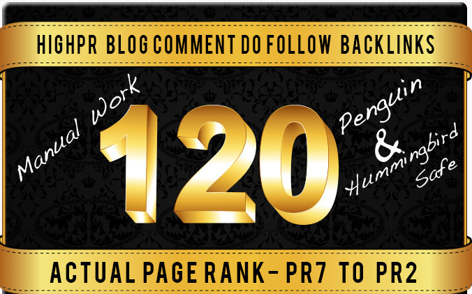 Will build 120 Dofollow Blog Comment Backlinks Pr7 to 2