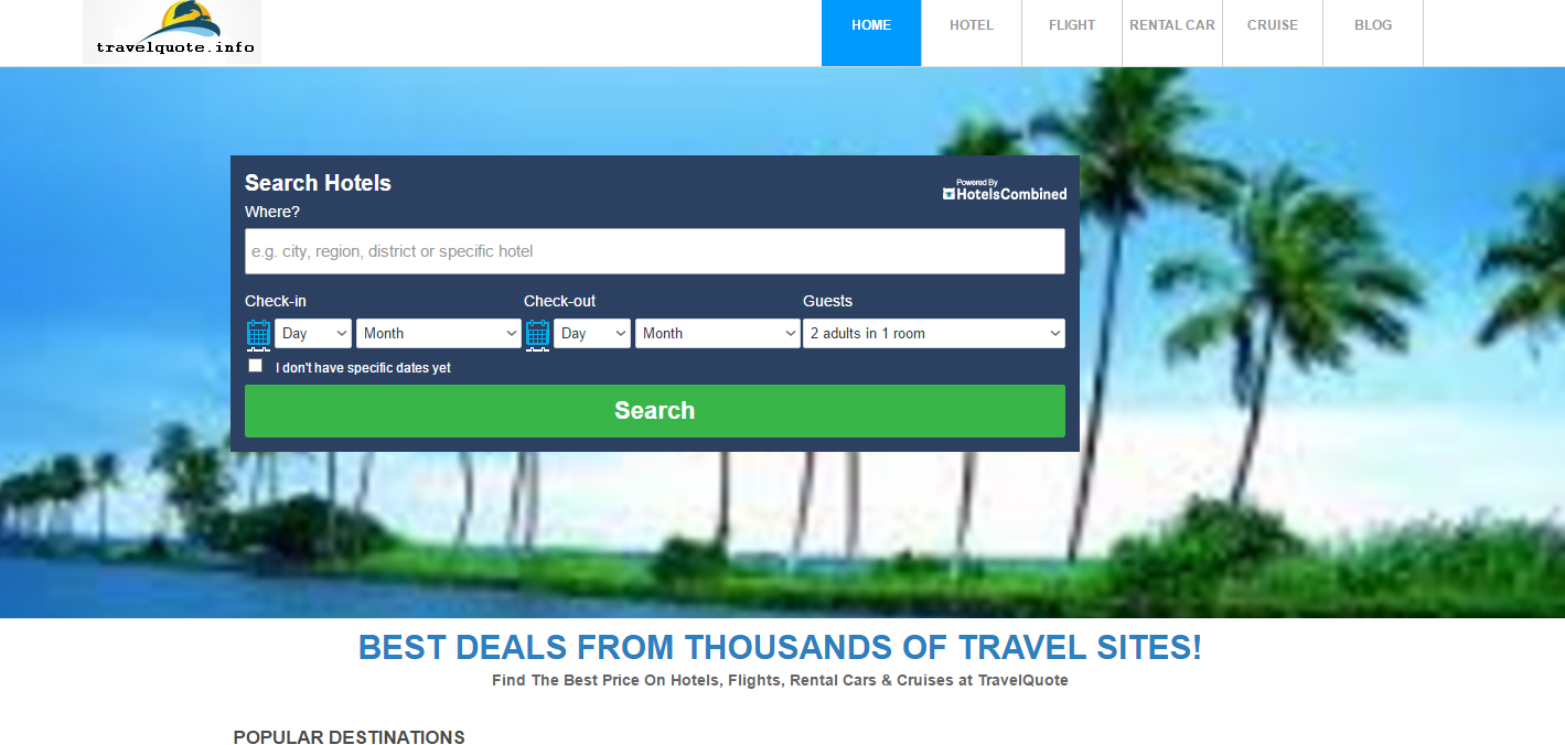 TRAVEL SITE WITH DOMAIN NAME AND 1YR HOSTING