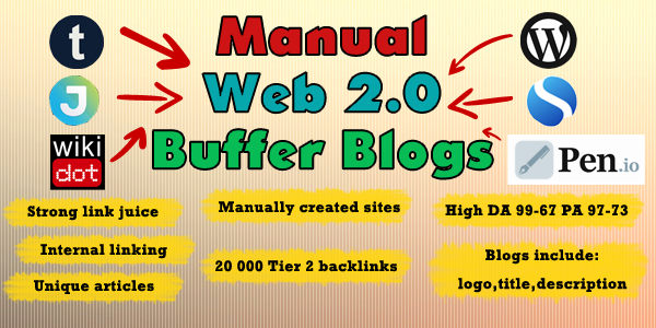 Manually created, Handmade 15 Web 2.0 Buffer Blog, PBN network, Logins included, Internal Linking