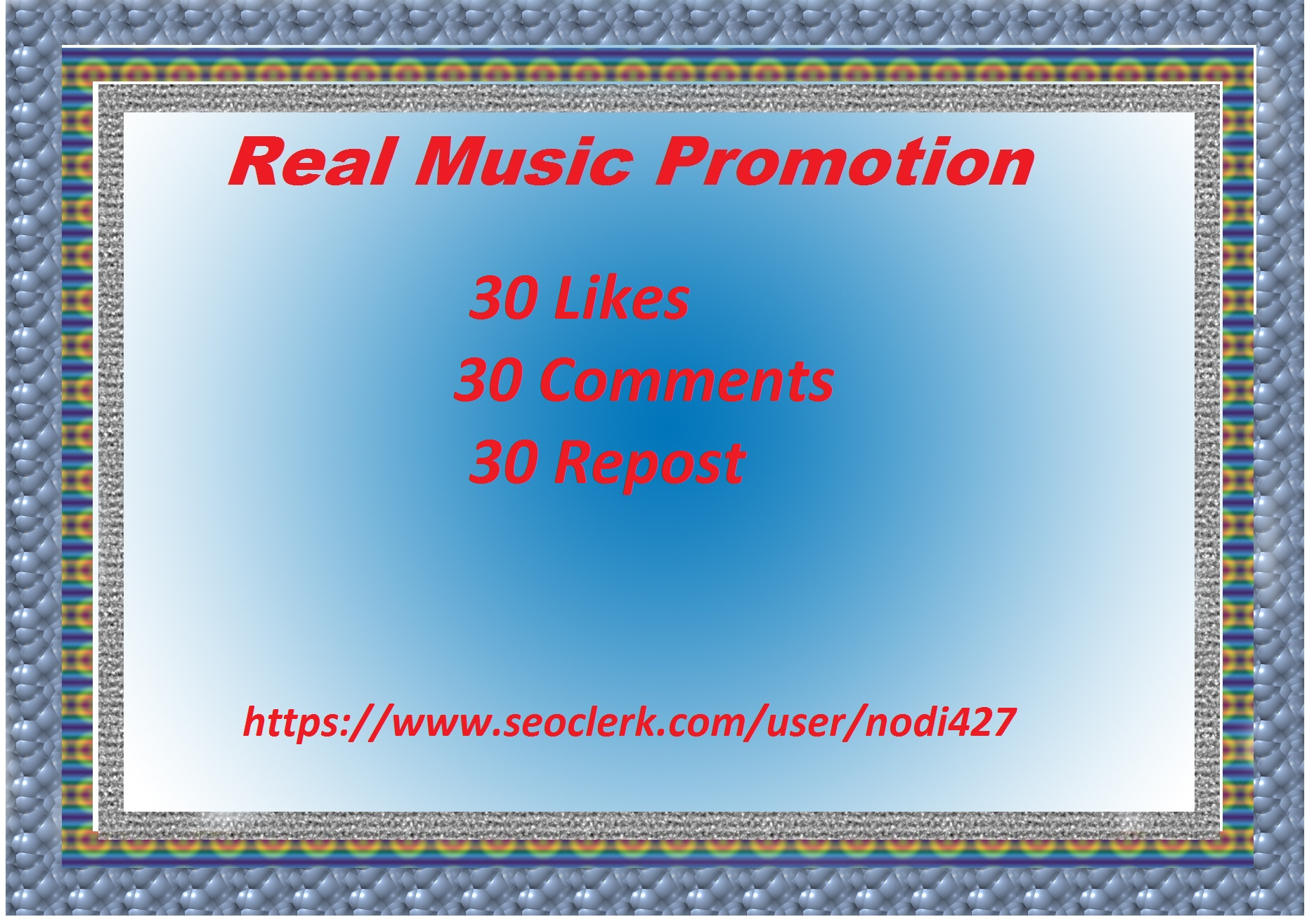 Music promotion 30 like + 30 comments + 30 repost