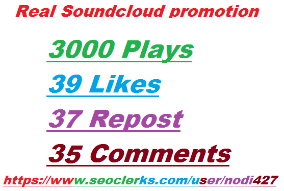 Real SoundCloud promotion 3000 Plays + 39 Likes + 37 Repost + 35 Comments