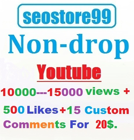 Non-drop 10,000---15,000 YouTube views+500 likes+15 custom comments within 72--- 120 hours