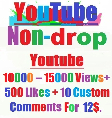 YouTube HR 10,000 to 15,000 views+500 Likes+ Bonus 10 custom comments within 72--240 hours