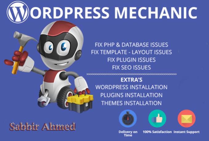 Fix wordpress issues,  wordpress errors Problems in 24 hours