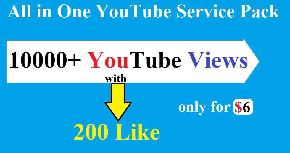 10k/10000 YouTube views And 200 Like Non Drop super fast delivery