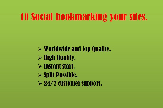 Provide you manually TOP 10 social bookmarking your sites