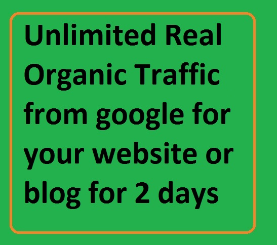 Get Unlimited Real Organic Traffic from google for your website or blog for 2 days