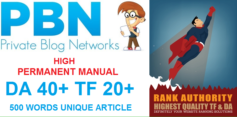 PERMANENT MANUAL 5 High DA40+ PA40+ TF20+ CF20+, PBN Backlinks - Homepage Quality Links