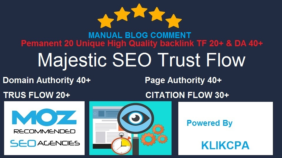 PERMANENT MANUAL Blog Comment 20 Unique TF20+ CF20+ DA40+ PA40+ High Quality Backlinks