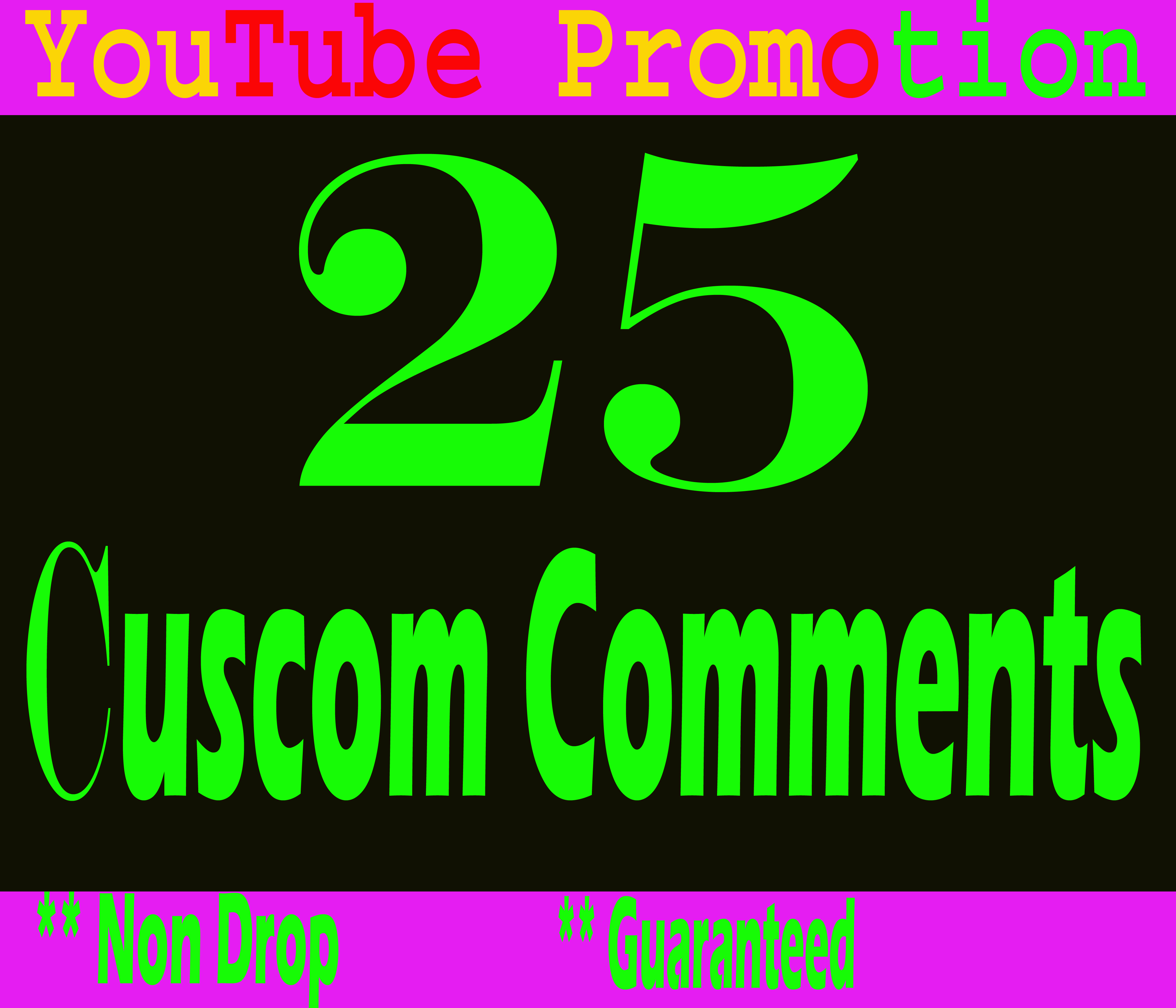 Mini Offer Real 25 YouTUbe Custom Comments