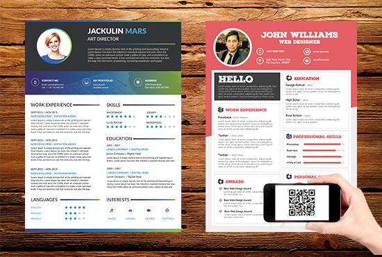 Make professional and modern resume with qr code
