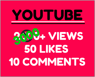 3000+ YouTube views with 50+ likes & 10 custom comments