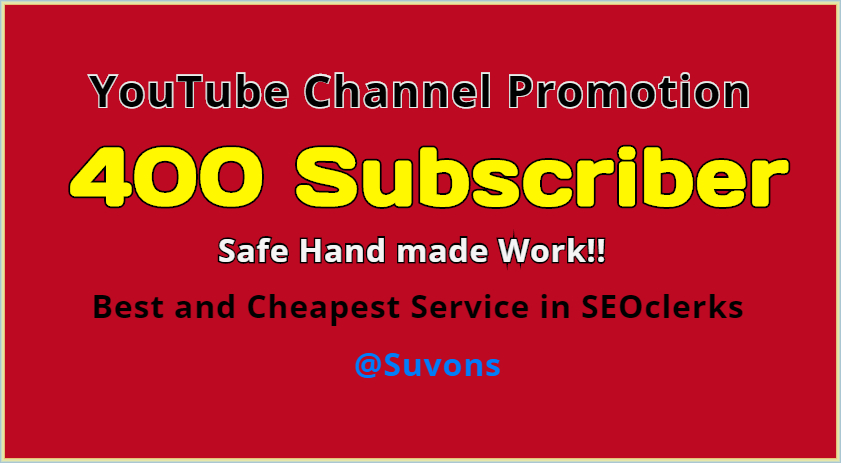 Best Channel Promotion Service 400 YT people