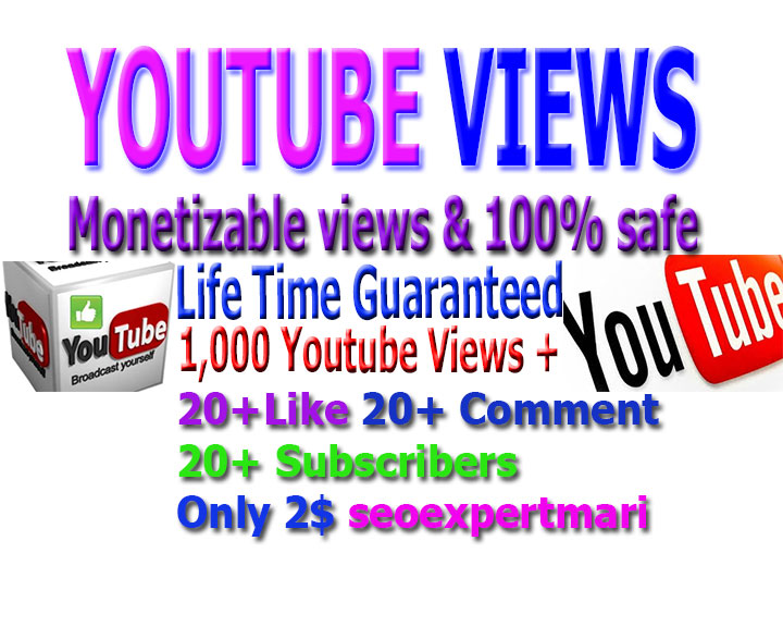 Promotion monetizable Guaranteed 1,000 vi-ews, 10 li-kes +10 comments and 10 subs-cribers to your Youtube video