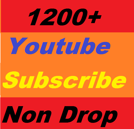 1200+ Youtube Channel subscribers Non Drop Or 400+ Youtube custom comment or 1800 youtube likes