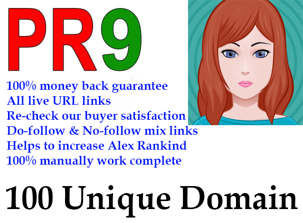 Manual 100 Pr9 Unique Domain High PR Seo Backlinks