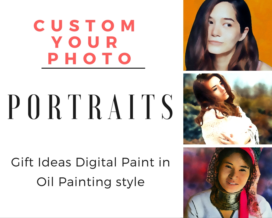 Custom your photo in Oil Painting Style as gift ideas 24 hours