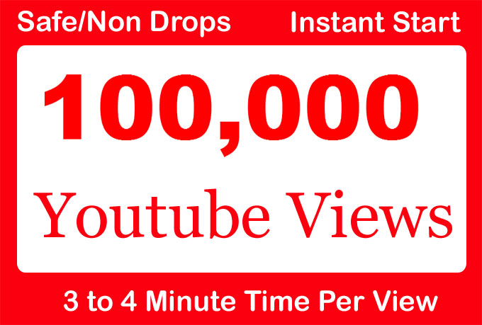 100,000 or 100k or 100000 YouTube Views with 100 Likes