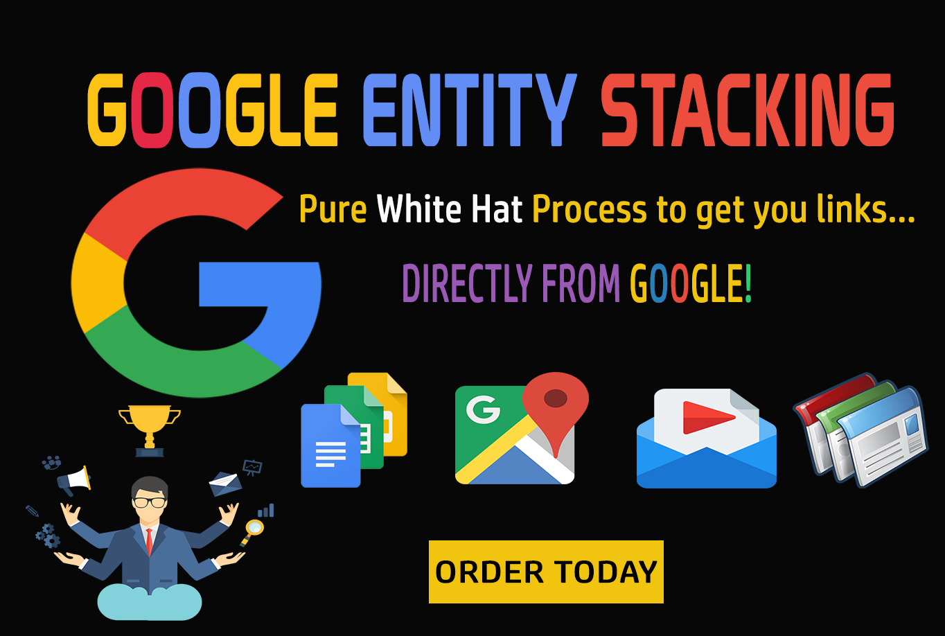 Google Entity Stack-GET POWERFUL LINKS FROM GOOGLE OWNED PROPERTIES
