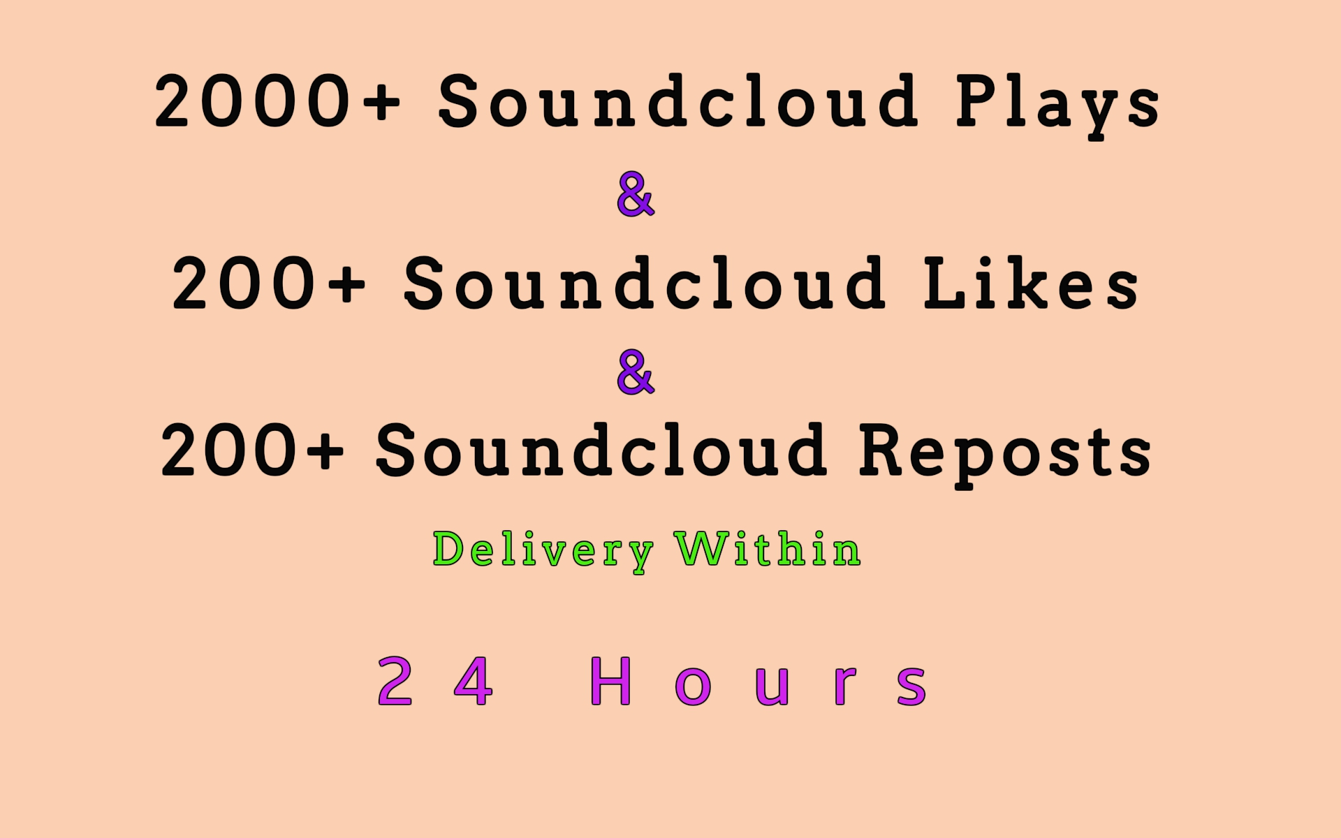 2000+ soundcloud plays and 200+ soundcloud likes and 200+ soundcloud reposts