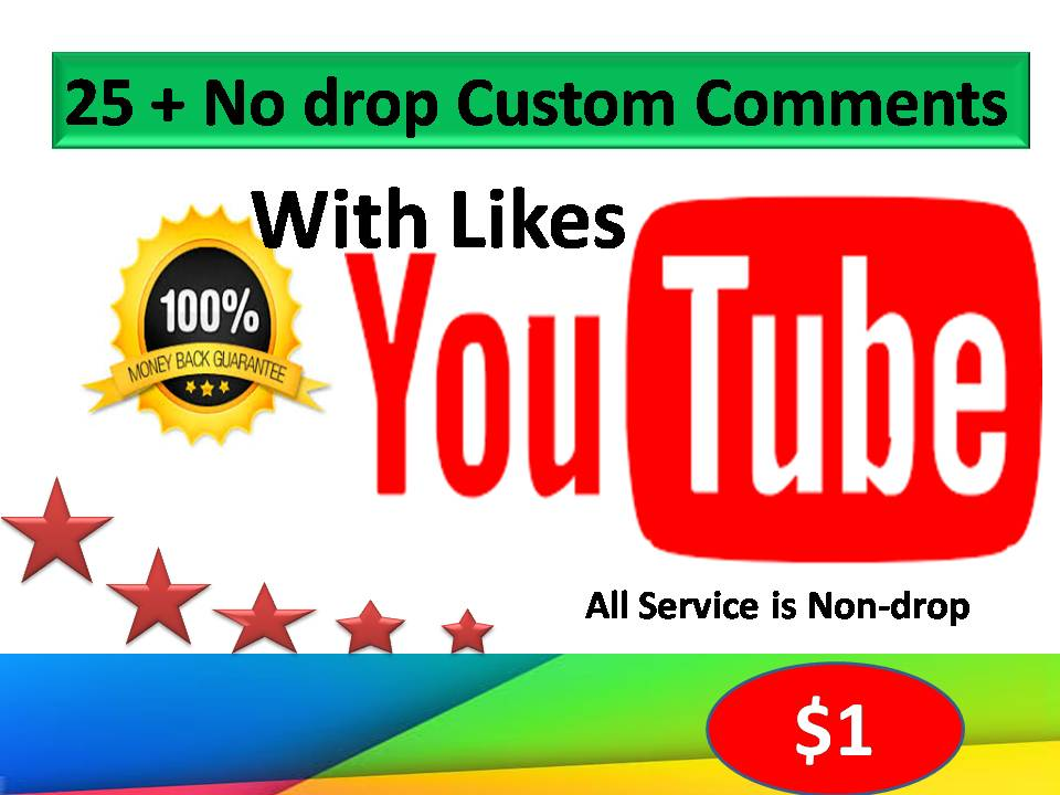 Limited Time Offer 25+ non-drop Custom comments with likes on your Video within 24 Hours