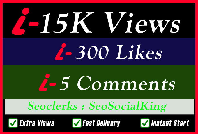 15K World Wide Video Views Promotion Or 300 Likes Or 5 Custom Comments Social media Marketing