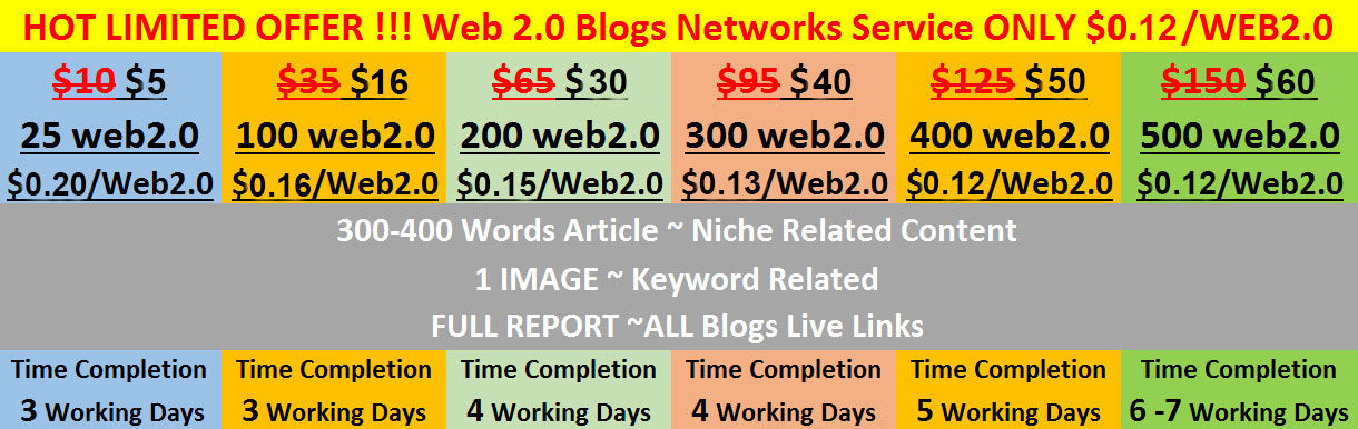 HOT LIMITED OFFER-2018 !!! Web 2.0 Blogs Networks Service ONLY $0.12/WEB2.0