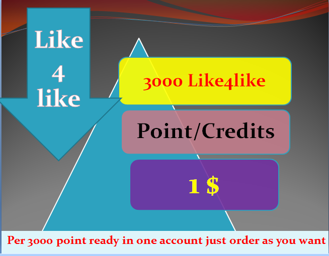 3000+  like4like points instant delivery just wait few minutes