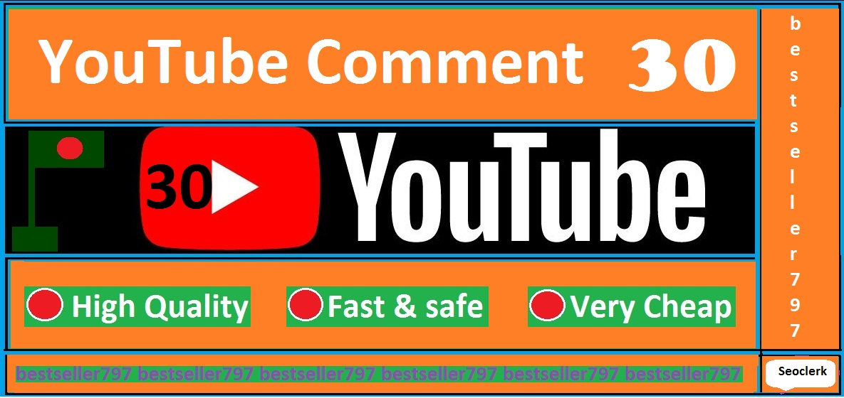 30 YouTube custom comments with 30 like free on your link very fast