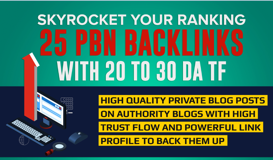 create 25 permanent PBN contextual backlinks with DA and  trust flow 20-30