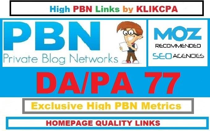 Permanent 5 Manual HIGH DA PA 77 Dofollow Homepage PBN Links