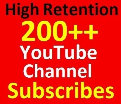 Never drop, 200+ YouTube Chanell Subscri 'bers Manually done, safety guaranteed for your channel