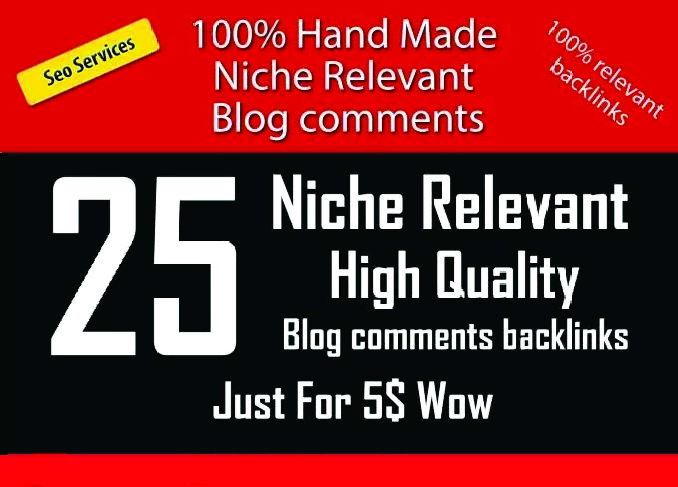 Do 25 Niche relevant blog comments Manually backlinks