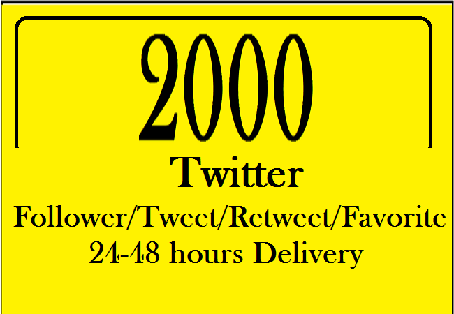 24 hours Delivery 2000 Twitter service and replacement 15 days