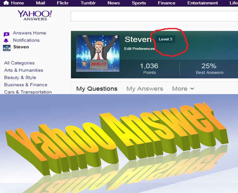 3 Yahoo Answers with your website link From 3 level Account