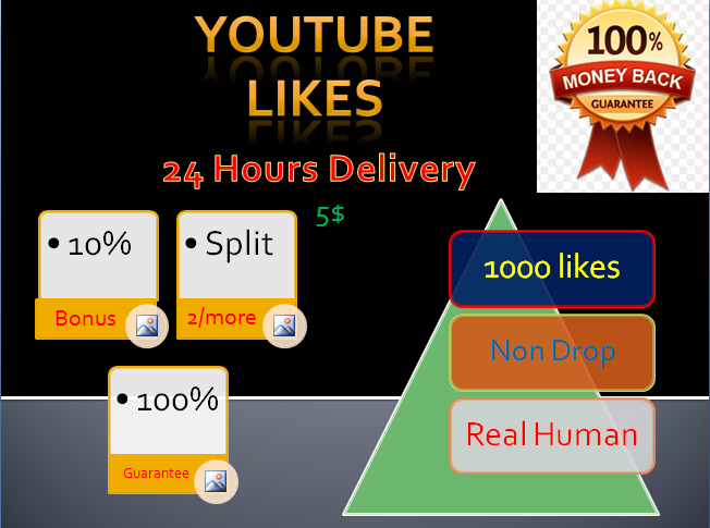 Boost YT video likes 1100+ likes 24 Hours delivery
