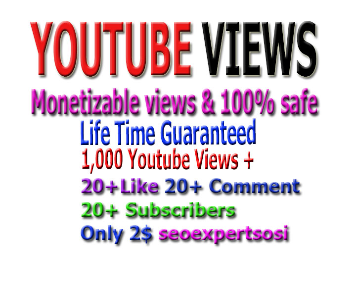 I provide 1000 monetizable you-tube viwes+ 10 YouTube custom com-ment +10 li-ke  +10 Subs-cri... in your YouTube video increse video ratings