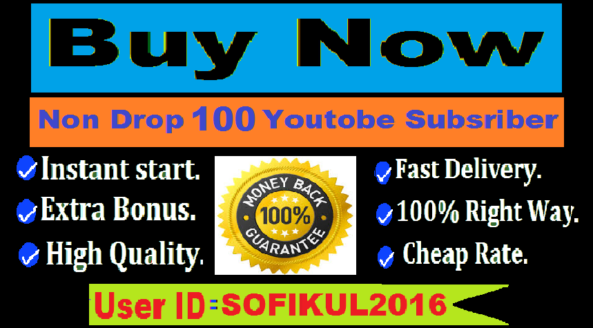 Manually 100 Youtube Subscriber fast