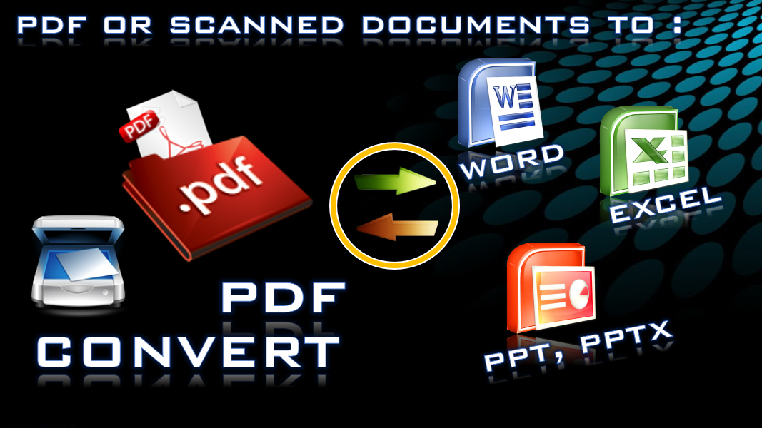 CONVERT PDF,  SCANNED DOCUMENTS TO WORD,  EXCEL,  PPT.