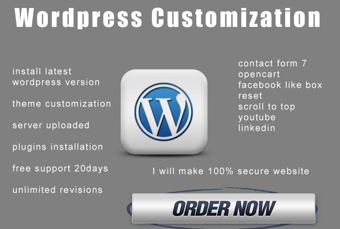 Wordpress Theme Customization and plugins installation