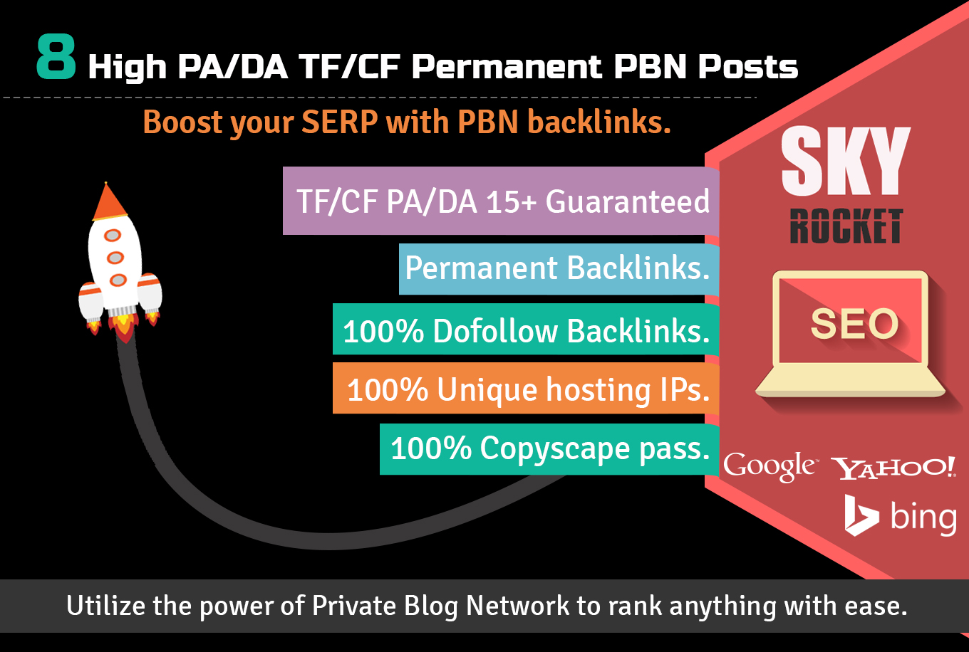 Skyrocket Your Google Rankings With 8 High PA/DA TF/CF Permanent PBN Posts